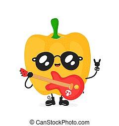 cute, pimenta, guitarra, rocha, sorrir feliz