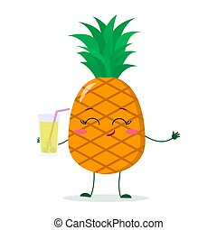 Cute pineapple cartoon character holding a glass with juice.