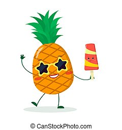 Cute pineapple cartoon character in sunglasses star in the hands of a colorful ice cream.