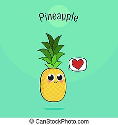 Cute Pineapple Fruit Character. Cartoon vintage vector illustration.