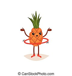 Cute pineapple spinning hula-hoop with hands up. Humanized fruit with tuft of green leaves. Flat vector design
