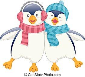 cute, pingüim, amigos, wobble