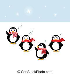cute, (, pingüins, v, cantando, natal