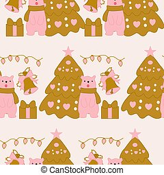 Cute pink bear and christmas tree in a seamless pattern design