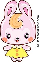 cute pink bunny in kawaii style yellow dress, isolated object on white background, vector illustration,