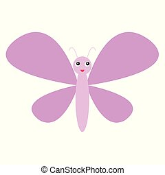 cute pink butterfly flying icon. cartoon style