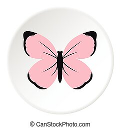 Cute pink butterfly icon, flat style