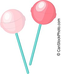 Cute, pink candy lollipop icon, flat design. Isolated on white background. Vector illustration, clip art.