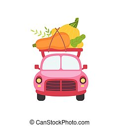 Cute Pink Car with Zucchini and Squash, Front View, Food Delivery, Shipping of Fresh Garden Vegetables Vector Illustration