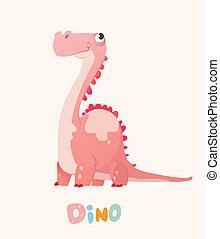 Cute Pink Cartoon Baby Dino. Bright Colorful dinosaur....