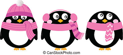 Cute pink cartoon penguin set isolated on white - Funny...