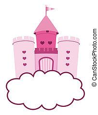 cute pink castle in clouds