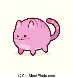 cute pink cat cartoon comic character with smiling face happy emoji anime kawaii style funny animal concept