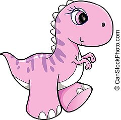 Cute Pink Dinosaur Vector Art