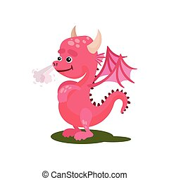 Cute pink dragon with steam from the nose. Mythical creature with small wings, horns and long tail. Flat vector icon