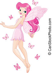 Cute pink fairy - Illustration of a cute pink flying fairy...