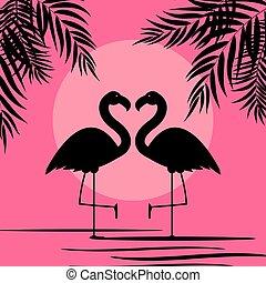 Cute Pink Flamingo Background Vector Illustration