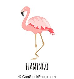 Cute Pink flamingo in flat style.