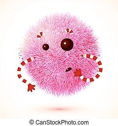 Cute pink fluffy  monster