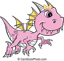 Cute Pink Girl Dragon Vector
