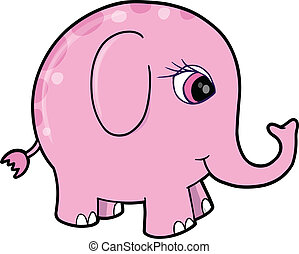 Cute Pink Girl Elephant Animal Vect