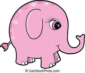 Cute Pink Girl Elephant Animal Vect