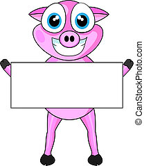 Cute Pink Happy Pig Holding A Blank