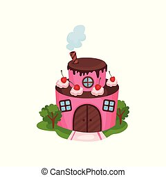 Cute pink house in form of two-tiered cake with wooden door and windows. Cream and cherries on chocolate roof. Cartoon flat vector design for children's book