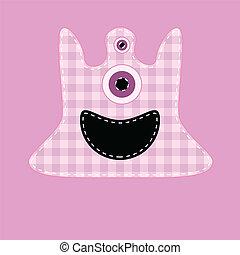 Cute pink kilted monster