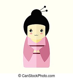 Cute Pink Kimono Girl Character Vector Illustration Graphic