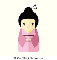 Cute Pink Kimono Girl Character Vector Illustration Graphic