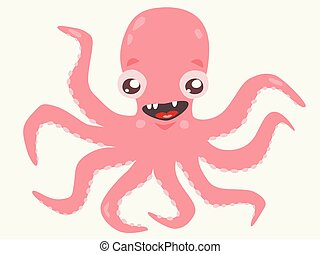 Cute pink octopus on white isolated background