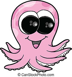 Cute Pink Octopus Vector