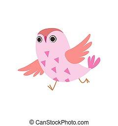Cute Pink Owlet Running, Adorable Owl Bird Vector Illustration