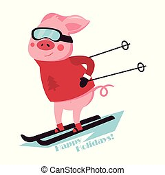 Cute pink pig down the mountain on skis. Downhill skier Vector illustration