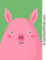 Cute pink pig snout flat vector illustration. Adorable farm animal muzzle cartoon colorful background. Close up piglet head, face decorative backdrop. Childish card design idea with swine.