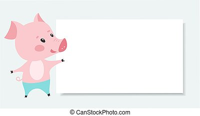 Cute pink pig with blank board. Vector