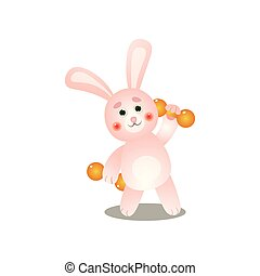 Cute pink rabbit make morning sport with metal dumbbell