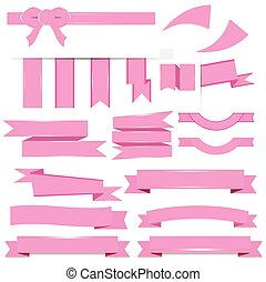 Cute pink ribbons set isolated on w