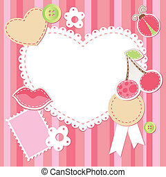 cute pink scrap set with flower, cherry, lips, ladybug and hearts