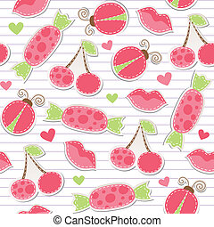 cute pink seamless pattern with cherries, ladybirds, lips...