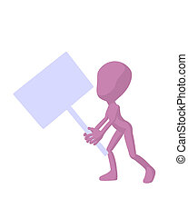 Cute Pink Silhouette Guy Holding A Blank Sign - Cute pink...