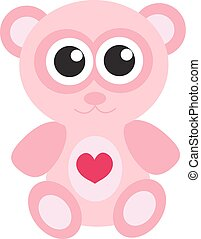 Cute pink teddy bear icon, flat design. Isolated on white background. Vector illustration, clip art.