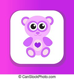 Cute pink teddy bear icon, flat design. Isolated on white background. Vector illustration, clip art