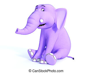 Cute pink toon baby elephant sitting and smiling.