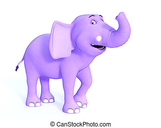 Cute pink toon baby elephant smiling.