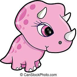 Cute Pink Triceratops Dinosaur Vector Illustration