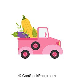Cute Pink Truck with Giant Zucchini and Eggplant, Side View, Food Delivery, Shipping of Fresh Garden Vegetables Vector Illustration