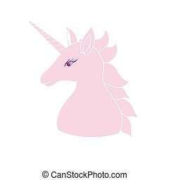 Cute pink unicorn with inscription . Vector illustration for...