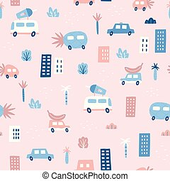 Cute pink vector seamless pattern.